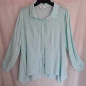 Umgee teal longsleeve button up blouse